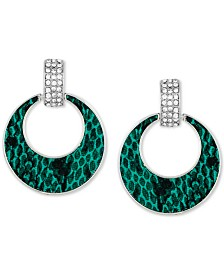GUESS Silver-Tone Pavé & Python Animal-Print Drop Hoop Earrings
