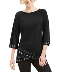JM Collection Grommet Crossover-Hem Top, Created for Macy's