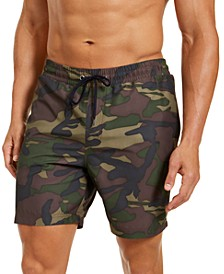 "Men's Classic-Fit Camo-Print 7"" Twill Swim Trunks, Created for Macy's"