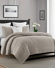 Enzyme Washed Crinkle Quilt Coverlet Set - Full/Queen