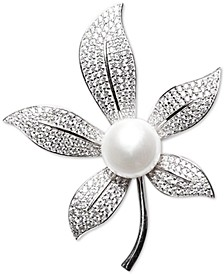 Cultured Freshwater Pearl (10mm) & Cubic Zirconia Leaf Pin in Sterling Silver