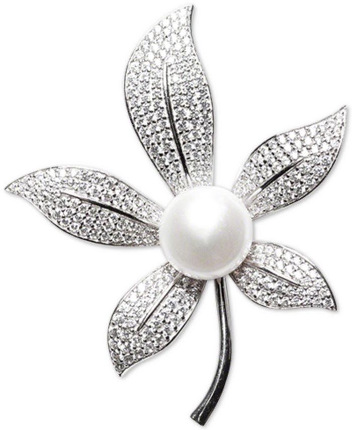 Macy's - Cultured Freshwater Pearl (10mm) & Cubic Zirconia Leaf Pin in Sterling Silver