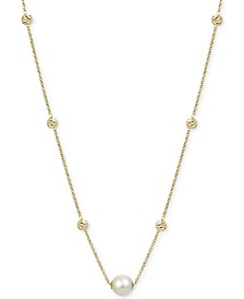 """Cultured Freshwater Pearl (9mm) & Bead Statement Necklace in 14k Gold-Plated Sterling Silver, 18"""" + 2"""" extender"""