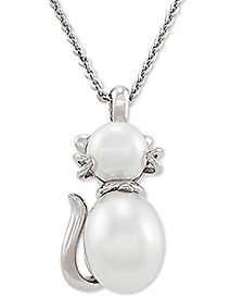 "Cultured Freshwater Pearl (6 & 7-1/2mm) Cat 17"" Pendant Necklace in Sterling Silver"