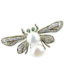 Cultured Freshwater Pearl (8 & 9mm) & Cubic Zirconia Bee Pin in Sterling Silver & 14k Gold-Plate