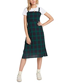 Juniors' Cotton Plaid A-Line Dress