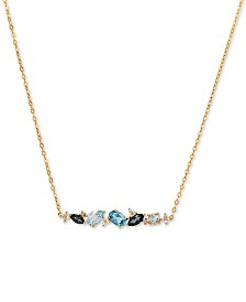 "Blue Topaz (1-3/4 ct. t.w.) & Diamond Accent 18"" Pendant Necklace in 14k Gold"