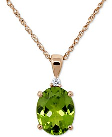 "Peridot (2-1/2 ct. t.w.) & Diamond Accent 18"" Pendant Necklace"