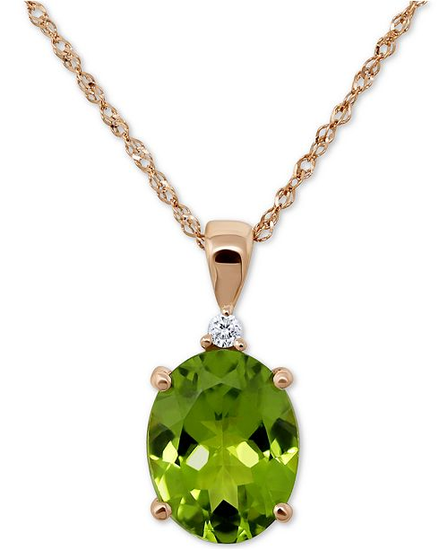 "Macy's Peridot (2-1/2 ct. t.w.) & Diamond Accent 18"" Pendant Necklace"