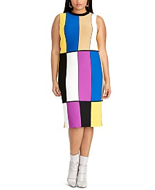 RACHEL Rachel Roy Trendy Plus Size Julie Colorblocked Sweater Dress