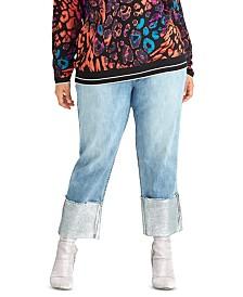RACHEL Rachel Roy Trendy Plus Size Cropped Foil-Cuff Jeans