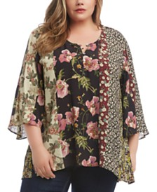 Karen Kane Plus Size Mixed-Print Handkerchief Top