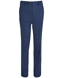 Big Boys Classic-Fit Stretch Bright Navy Blue Windowpane Check Suit Pants