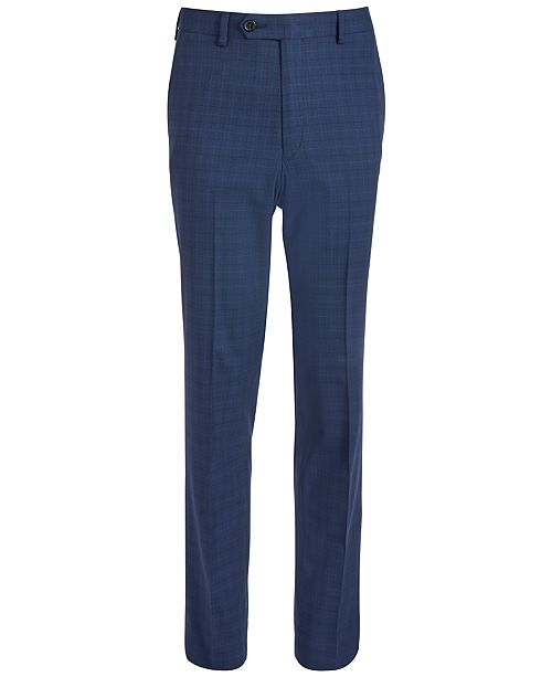 Lauren Ralph Lauren Big Boys Classic-Fit Stretch Bright Navy Blue Windowpane Check Suit Pants
