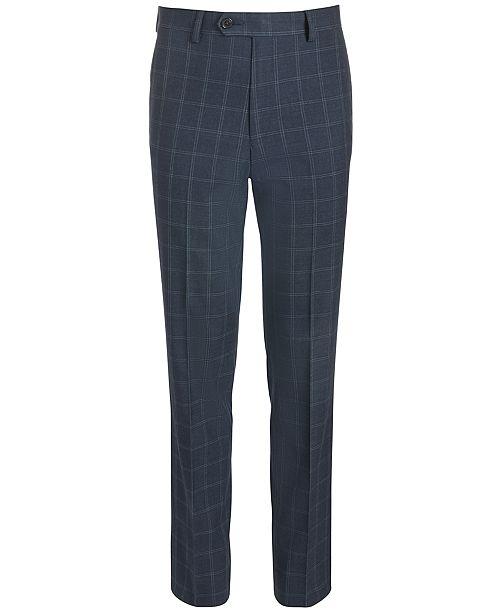 Lauren Ralph Lauren Big Boys Classic-Fit Stretch Navy Blue Windowpane Suit Pants