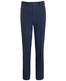 Big Boys Classic-Fit Stretch Navy Blue Mini-Grid Suit Pants