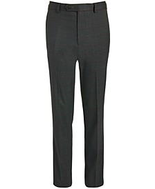 Big Boys Classic-Fit Stretch Charcoal/Wine Red Windowpane Suit Pants