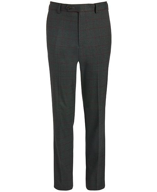 Lauren Ralph Lauren Big Boys Classic-Fit Stretch Charcoal/Wine Red Windowpane Suit Pants