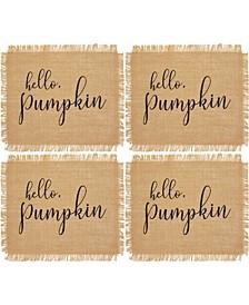 Hello Pumpkin Farmhouse Burlap Placemat, Set of 4