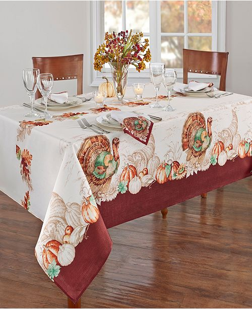 "Elrene Holiday Turkey Bordered Fall Tablecloth, 60"" x 120"""