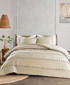 Leona Full/Queen 3-Pc. Pom Pom Cotton Duvet Cover Set