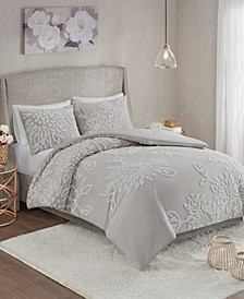 Veronica 3-Pc. Tufted Cotton Chenille Floral Bedding Sets