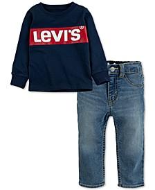Baby Boys 2-Pc. Logo-Print T-Shirt & Pull-On Stretch Denim Pants Set