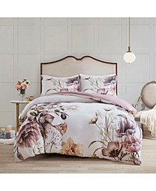 Cassandra King/California King 3-Pc. Cotton Printed Duvet Cover Set