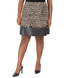 Plus Size Animal-Print Faux-Leather-Trim Skirt