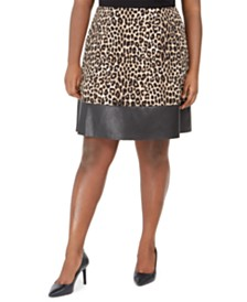 Michael Michael Kors Plus Size Animal-Print Faux-Leather-Trim Skirt