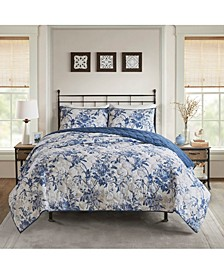 Abigail Full/Queen 3-Pc. Cotton Printed Ruffle Duvet Cover Set