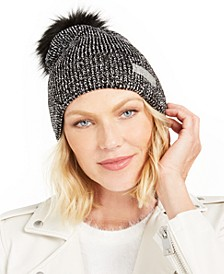 Lurex Rib-Knit Beanie with Faux-Fur Pom