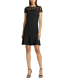 Floral-Lace-Panel Scalloped Jersey Dress