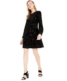 Calvin Klein Burnout Velvet Pattern A-Line Dress