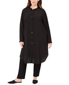 Eileen Fisher Plus Size Mandarin Collar Maxi Shirt