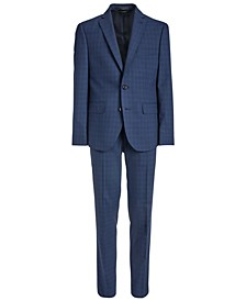Big Boys Classic-Fit Stretch Bright Navy Blue Windowpane Check Suit Separates