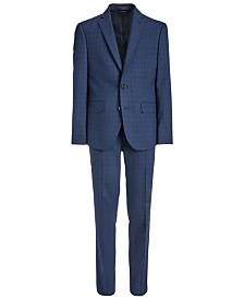 Lauren Ralph Lauren Big Boys Classic-Fit Stretch Bright Navy Blue Windowpane Check Suit Separates