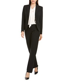 Anne Klein Pinstriped Peak-Lapel Jacket, Bow Blouse & Flare-Leg Pants