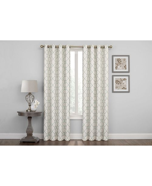 "Regal Home Embroidered Lattice Room Darkening Grommet Curtain, 95"" x 50"""