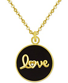 "Gold-Tone Crystal Love 18"" Pendant Necklace"
