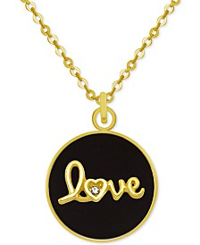"PIXIE POSEY Gold-Tone Crystal Love 18"" Pendant Necklace"