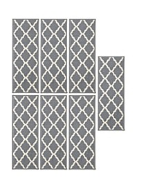 "Glamour Collection Trellis Design Stair Tread Set of 7, 8.5"" x 26"""