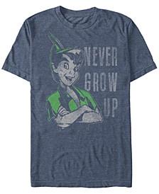 Disney Men's Peter Pan Never Grow Up Vintage Portrait Short Sleeve T-Shirt