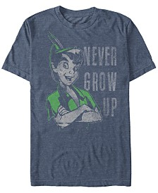 Disney Men's Peter Pan Never Grow Up Vintage Portrait Short Sleeve T-Shirt