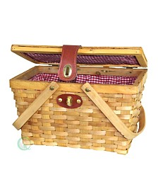 Vintiquewise Picnic Basket with Plaid Lining