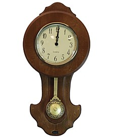 Transitional Pendulum Wall Clock Solid Wood Walnut
