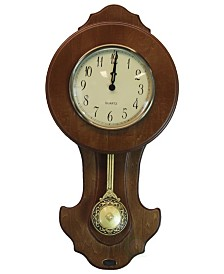 Uniquewise Transitional Pendulum Wall Clock Solid Wood Walnut