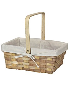 "12"" Rectangular Woodchip Picnic Basket Lined with Fabric"