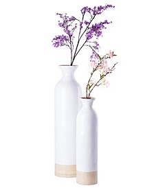 Cylinder Shaped Tall Spun Bamboo Floor Vase Glossy Lacquer Bamboo, Set of 2
