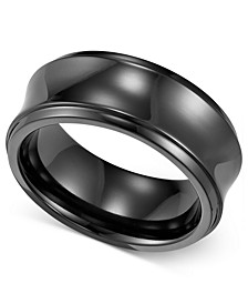 Men's Black Titanium Ring, Concave Wedding Band (8mm)